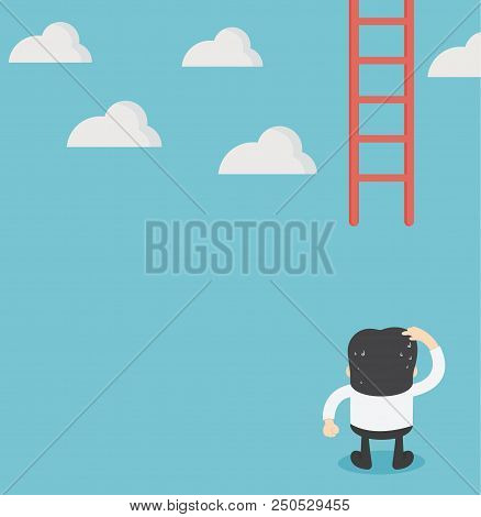 Businessman Missing Ladder Climbing Upwards. Confused Illustration
