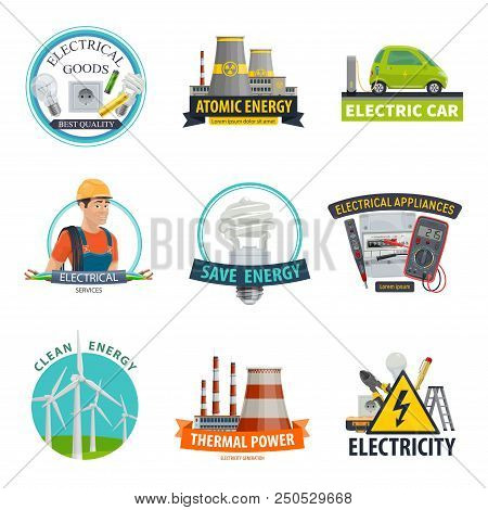 Electricity And Power Energy Icons Of Electrician Worker, Eco Car Technology And Light Bulb. Vector