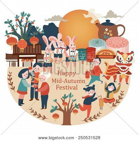 Mid-autumn Festival Celebration Elements With Bunny, Full Moon, Moon Cake, Chinese Lantern, Family R