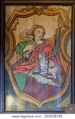 VELIKA MLAKA, CROATIA - MARCH 28: Saint Agnes, altarpiece in the Church of the Saint Barbara in Velika Mlaka, Croatia on March 28, 2017.