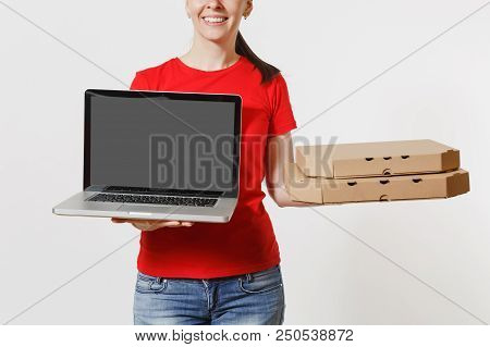 Delivery Woman In Red Cap, T-shirt Giving Food Order Italian Pizza In Cardboard Flatbox Boxes Isolat