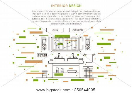 Cafe Interior Design Flat Vector Illustration. Line Graphic Design Of Pastry Shop, Bakery. Creative