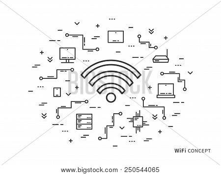 Wifi Linear Vector Illustration. Creative Flat Concept Wifi, Servers, Laptop. Graphic Design Online
