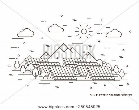 Linear Sun Electric Station, Solar Energy Park, Solar Power Station Vector Illustration. Solar Power