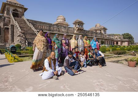 Mandu, India - February 03, 2017 : Unidentified Indian Tourists Are Photographed In The Background O