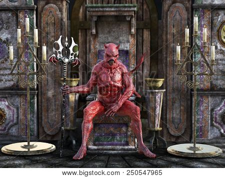 A Mean Looking Demonic, Red Devil With Horns Holding Trident Pitchfork And Sitting On A Throne, 3d R