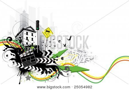 City abstraction on a white background.