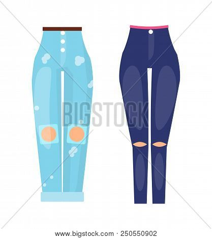 Fashionable Jeans Dark Skinny And Light Blue Boyfriends. Denim Female Clothes Collection. Pants With