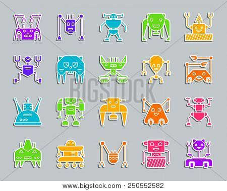 Robot Silhouette Sticker Icons Set. Web Sign Kit Of Character. Transformer Pictogram Collection Incl
