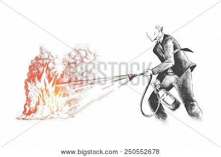 Help, Audit, Risk, Auditor, Control Concept. Hand Drawn Plant Businessman Extinguish A Fire Concept