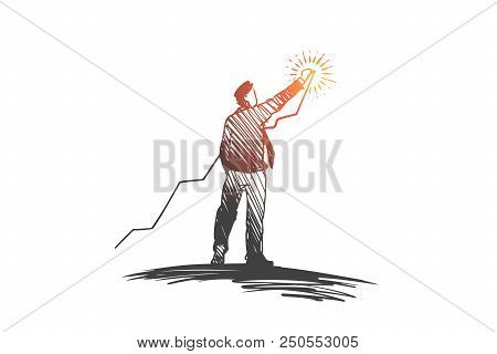 Investing, Growth, Profit, Success Concept. Hand Drawn Man Building A Chart Of Growing Success Conce