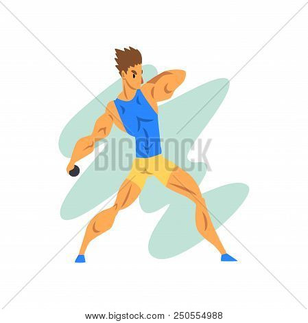Male Athlete Throwing A Kernel, Professional Sportsman At Sporting Championship Athletics Competitio