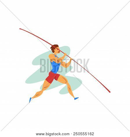 Male Athlete Jumping With A Pole, Professional Sportsman At Sporting Championship Athletics Competit