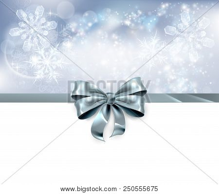 Christmas Snowflakes And Bow Ribbon Silver Abstract Christmas Background. White At The Bottom And Si