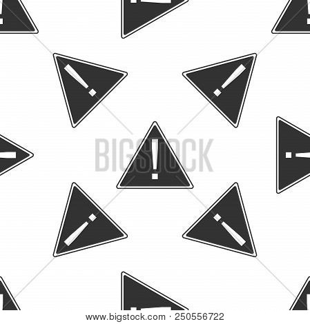 Exclamation Mark In Triangle Icon Seamless Pattern On White Background. Hazard Warning Sign, Careful