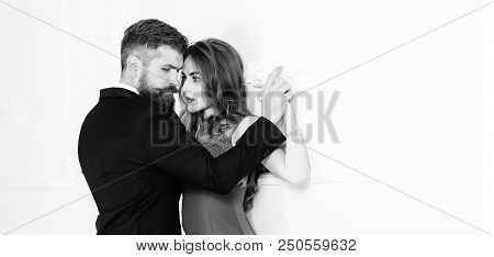 Woman Dominates The Man, Sexy Games, Obeys Man. Pretty Young Woman And Man With Beard. Sexy Couple,