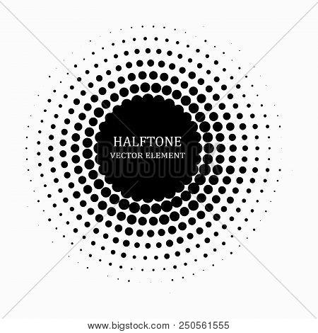 Circle Halftone. Abstract Halftone Background. Vector Illustration. Black Circles.
