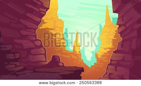 Vector Cartoon Illustration Of Grand Canyon, National Park Of Arizona State On Colorado River. Red S