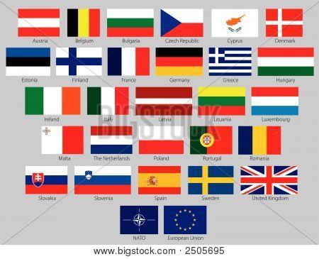 27 Eu Flags Plus Nato And Eu Symbol