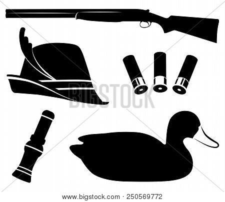 Hunting Set Vector Illustration. Duck Hunting. Shotgun, Duck Call, Decoys, Hat And Shell