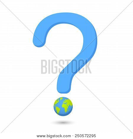 Word Eco Globe Illustration Vector.earth Globe With Question Mark Illustration.global Interrogation