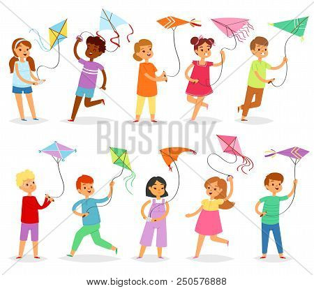 Kids Kite Vector Child Character Boy Or Girl Playing And Childly Kiteflying Activity Illustration Se