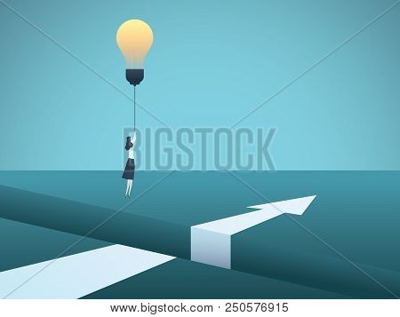 Business Creativity Vector Concept With Business Woman Flying Over Gap With Lightbulb. Symbol Of Inn