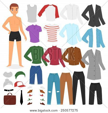 Man Clothing Vector Boy Character Dress Up Clothes With Fashion Pants Or Shoes Illustration Boyish S