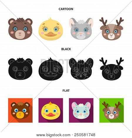Bear, Duck, Mouse, Deer. Animal Muzzle Set Collection Icons In Cartoon, Black, Flat Style Vector Sym
