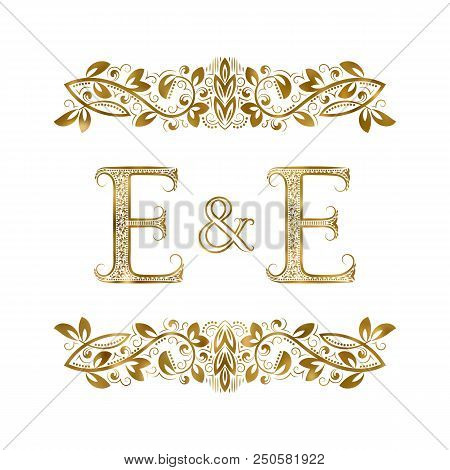 E And E Vintage Initials Logo Symbol. The Letters Are Surrounded By Ornamental Elements. Wedding Or