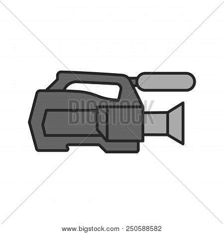 Video Camera Color Icon. Videotaping. Isolated Vector Illustration