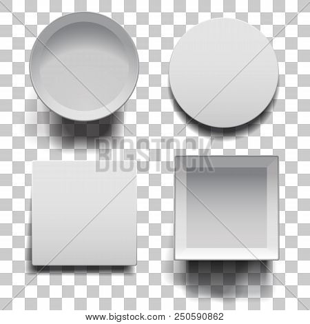 Open Boxes With Lids Set On Squared Background. White Round And Square Boxes With Shadows Template.