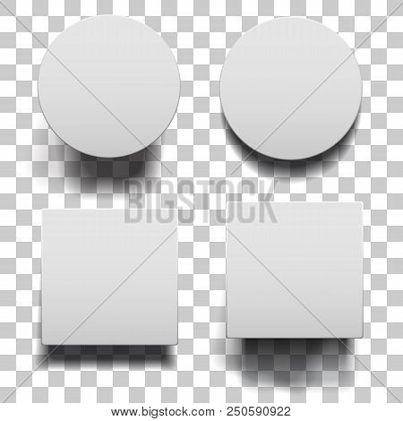 Closed Low And High Boxes With Shadows Set On Squared Background. White Round And Square Boxes Templ