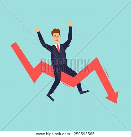 Businessman Sitting On The Arrow, Falling. Flat Design Vector Illustration.