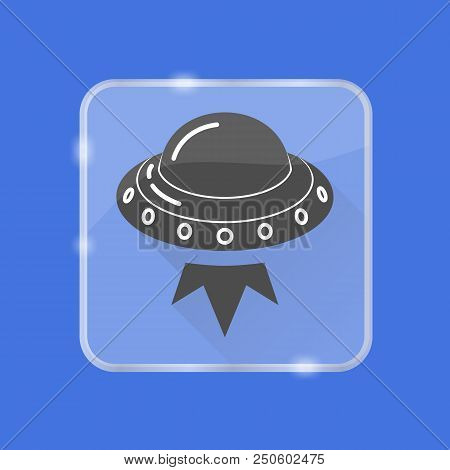Ufo Spaceship Silhouette Icon With Long Shadow In Flat Style On Transparent Button. Flying Saucer Sy