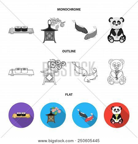 Sushi, Koi Fish, Japanese Lantern, Panda.japan Set Collection Icons In Flat, Outline, Monochrome Sty