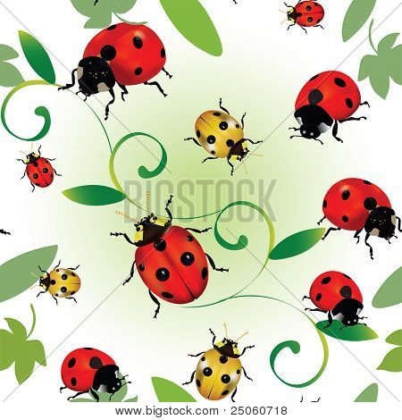 Seamless colourful pattern with ladybugs and leaves