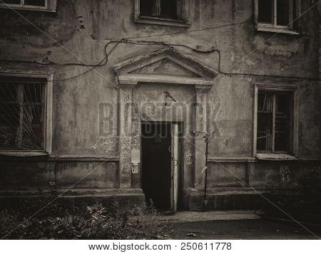 Entrance To A Very Old House. Old Residential Building. Kazakhstan (ust-kamenogorsk). Old Architectu