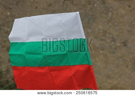 Waving Flag  By The Wind Of Bulgaria Close-up