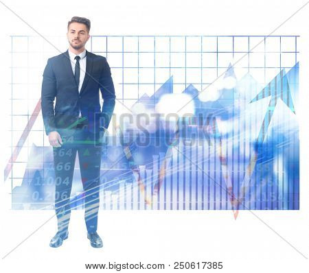 Double exposure of stock broker and graphs on white background. Financial trading concept