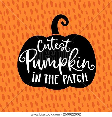 Cutest Pumpkin In The Patch. Cute Halloween Party Card, Invitation With Hand Drawn Silhouette Of Pum