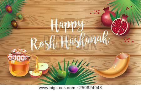 Happy Rosh Hashanah Greeting Card - Jewish New Year. Text `shana Tova!` On Hebrew. Honey And Apple,