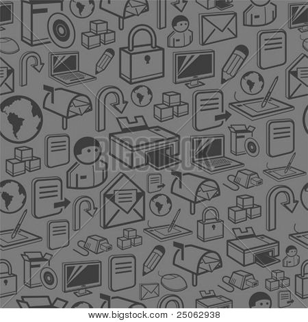 seamless computer background consisting of PC theme icons