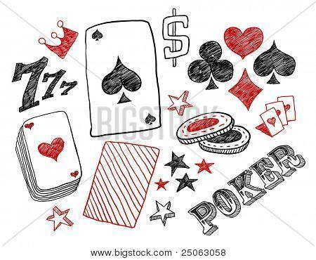 Hand-drawn poker designs. Vector illustration.