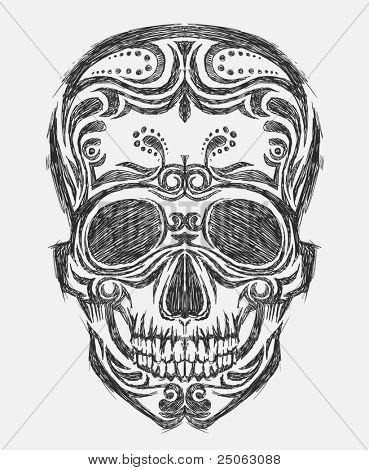 Hand-drawn skull illustration. Vector image.