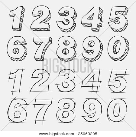 Hand-drawn numbers set. Vector illustration.