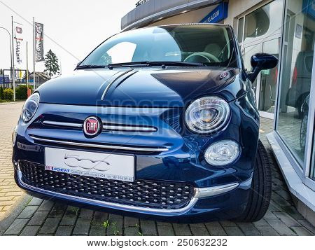 Gdansk, Poland - July 18, 2018: Fiat 500 car at  the Fiat showroom of Gdansk, Poland. Fiat 500 is small european car manufactured in Italy.