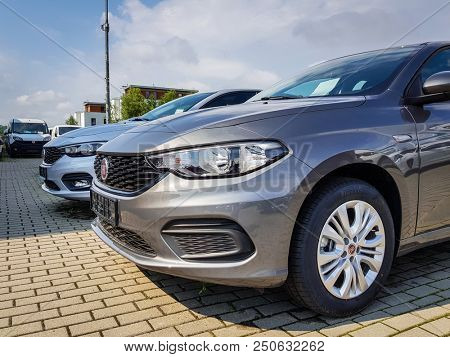 Gdansk, Poland - July 18, 2018: Fiat Tipo car at  the Fiat showroom of Gdansk, Poland. Fiat Tipo is european compact car manufactured in Italy.