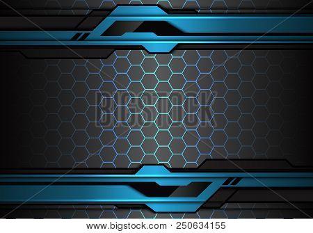 Abstract Metallic Blue Black Futuristic Polygon Line On Hexagon Mesh Pattern Design Modern Technolog