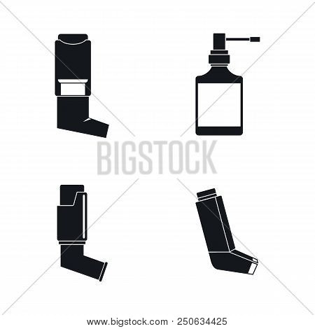 Inhaler Breather Deep Breath Health Care Asthma Icons Set. Simple Illustration Of 4 Inhaler Breather